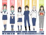 6+girls adapted_costume alternate_costume bangs black_eyes black_hair blue_jumpsuit blue_legwear blue_pants blue_sailor_collar blue_skirt brown_eyes brown_hair chips closed_eyes commentary_request crocs crossed_arms food fubuki_(kantai_collection) full_body grin hair_ribbon hand_on_hip hands_together hatsuyuki_(kantai_collection) highres isonami_(kantai_collection) jacket jumpsuit kantai_collection kneehighs long_hair long_skirt looking_at_viewer low_twintails miyuki_(kantai_collection) mouth_hold multiple_girls murakumo_(kantai_collection) orange_eyes pants parted_bangs pleated_skirt ponytail potato_chips pringle_duck ribbon sailor_collar salute school_uniform serafuku shirayuki_(kantai_collection) shirt short_eyebrows short_hair short_twintails sidelocks skirt sleepwear smile standing tanaka_io_(craftstudio) track_jacket track_pants track_suit translation_request tress_ribbon twintails wavy_hair white_hair white_jacket white_shirt