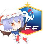 1girl bangs bat_wings bow chibi closed_mouth cup emblem eyebrows_visible_through_hair france full_body hat hat_ribbon highres holding jersey lavender_hair mini_wings mob_cap nike red_bow red_eyes red_legwear red_ribbon remilia_scarlet ribbon roll_daikufu shoes short_hair skirt smile soccer soccer_uniform solo sportswear standing star teacup touhou white_footwear white_skirt wings world_cup