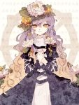 1girl artist_request black_dress breasts brown_hair dress gradient_hair hair_ornament hijiri_byakuren long_hair looking_at_viewer multicolored_hair puffy_sleeves purple_hair smile solo touhou wavy_hair white_dress