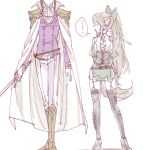 ! 1boy 1girl adapted_costume boots bow brown_hair cape commentary_request formal garter_straps genderswap genderswap_(ftm) genderswap_(mtf) hair_bow height_difference link long_hair out_of_frame pelvic_curtain ponytail princess_zelda rapier short_shorts shorts shuri_(84k) sidelocks spoken_exclamation_mark suit sword the_legend_of_zelda the_legend_of_zelda:_twilight_princess thigh-highs thigh_boots weapon