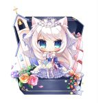 1girl american_flag american_flag_print animal_ears azur_lane bangs bare_shoulders bell blue_bow blue_ribbon blush bouquet bow cat_ears chibi church closed_mouth detached_sleeves dress eyebrows_visible_through_hair flag_print flower food fruit garter_straps green_eyes hammann_(azur_lane) highres holding holding_bouquet jewelry long_hair puffy_short_sleeves puffy_sleeves purple_flower purple_rose red_flower red_rose ribbon ring rose ryuuka_sane short_sleeves silver_hair simple_background solo standing strapless strapless_dress strawberry striped striped_bow striped_ribbon thigh-highs veil very_long_hair wedding_band wedding_cake wedding_dress white_background white_bow white_dress white_flower white_legwear white_rose yellow_flower yellow_rose