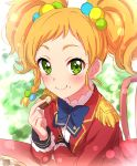 1girl :t aikatsu!_(series) aikatsu_stars! blue_neckwear blush bow bowtie braid checkerboard_cookie chocolate closed_mouth commentary_request cookie eating epaulettes food food_on_face green_eyes hair_bobbles hair_ornament highres holding holding_food jacket lens_flare lens_flare_abuse long_sleeves looking_at_viewer multicolored_hair_bobbles nikaidou_yuzu orange_hair red_jacket s4_uniform sekina short_hair side_braid single_braid smile solo twintails wavy_mouth