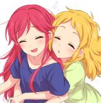 2girls :d aikatsu! aikatsu!_(series) bangs blonde_hair blue_shirt blush closed_eyes facing_viewer green_shirt highres hug hug_from_behind laughing long_hair multiple_girls open_mouth otoshiro_seira parted_lips pink_hair saegusa_kii sekina shirt short_sleeves simple_background smile white_background