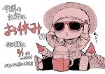 1boy :o baby blush commentary_request demon_wings gospel_(musuko_ga_kawaikute_shikatanai_mazoku_no_hahaoya) hat highres holding juugoya_(zyugoya) legs_apart male_focus monochrome musuko_ga_kawaikute_shikatanai_mazoku_no_hahaoya pants red sandals short_sleeves simple_background sitting solo straw_hat sunglasses triangle_mouth white_background wings