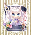 1girl american_flag american_flag_print animal_ears azur_lane bangs bare_shoulders bell bird blue_bow blue_ribbon blush bouquet bow cat_ears chibi church closed_mouth commentary_request detached_sleeves dress eyebrows_visible_through_hair flag_print flower food fruit garter_straps green_eyes hammann_(azur_lane) highres holding holding_bouquet jewelry long_hair puffy_short_sleeves puffy_sleeves purple_flower purple_rose red_flower red_rose ribbon ring rose ryuuka_sane short_sleeves silver_hair solo standing strapless strapless_dress strawberry striped striped_background striped_bow striped_ribbon thigh-highs veil vertical-striped_background vertical_stripes very_long_hair wedding_band wedding_cake wedding_dress white_bow white_dress white_flower white_legwear white_rose yellow_flower yellow_rose