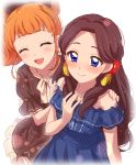 2girls :d aikatsu! aikatsu!_(series) bangs bare_shoulders blue_dress blunt_bangs blush bow brown_dress closed_eyes closed_mouth commentary_request dress eyebrows_visible_through_hair flower fujiwara_miyabi_(aikatsu!) hair_bow hair_flower hair_ornament hand_on_own_chest hands_on_another's_shoulders highres kurisu_kokone long_hair multiple_girls open_mouth orange_hair sekina simple_background smile sweatdrop very_long_hair white_background