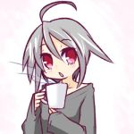 1girl ahoge bangs black_shirt blush coffee_mug collarbone commentary_request cup drinking_glass eyebrows_visible_through_hair hair_between_eyes head_tilt holding holding_cup hono long_sleeves looking_at_viewer lowres mug official_art parted_lips red_eyes shirt silver_hair sleeves_past_wrists solo steam suguri suguri_(character)