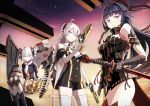 3girls absurdres ahoge bare_shoulders black_hair blue_eyes bow braid breasts bronya_zaychik cleavage closed_mouth detached_collar drill_hair dual_wielding elbow_gloves eyebrows_visible_through_hair gloves gun hair_between_eyes hair_bow hair_ornament hairband highres holding holding_gun holding_sword holding_weapon honkai_impact huge_filesize kiana_kaslana long_hair looking_at_viewer medium_breasts multiple_girls nosuku raiden_mei silver_hair sky star_(sky) starry_sky sunset sword thigh-highs twin_braids twin_drills twintails violet_eyes weapon