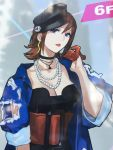 blue_eyes breasts choker earrings gloves hand_on_own_cheek hat highres huge_belt jewelry kaname_buccaneer lipstick looking_at_viewer macross macross_delta makeup medium_breasts necklace official_art photo redhead short_hair torn_clothes