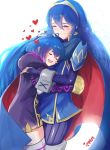 2girls ahoge blue_hair blush cape closed_eyes fingerless_gloves fire_emblem fire_emblem:_kakusei gloves highres hood hug ippers jacket long_hair lucina mark_(female)_(fire_emblem) mark_(fire_emblem) mother_and_daughter multiple_girls open_mouth short_hair simple_background smile