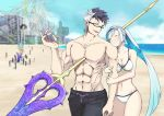 1girl 2boys beach bikini blue_eyes blue_hair blue_sky brynhildr_(fate) fate/apocrypha fate/grand_order fate/prototype fate/prototype:_fragments_of_blue_and_silver fate_(series) female_swimwear glasses impaled looking_at_another male_swimwear multicolored_hair multiple_boys no_nipples polearm projected_inset siegfried_(fate) sigurd_(fate/grand_order) sky spear swim_trunks swimsuit swimwear thumbs_up two-tone_hair walking water weapon yuzuruka_(bougainvillea)