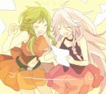 2girls \(^o^)/ ^_^ akiyoshi_(tama-pete) bare_arms bare_shoulders black_choker black_shirt braid choker clenched_hand closed_eyes cowboy_shot crying eyebrows_visible_through_hair floating green_hair gumi hair_ornament hairclip happy happy_tears holding holding_paper ia_(vocaloid) jumping long_hair lowres multiple_girls navel open_mouth orange_background orange_shirt orange_skirt paper pink_skirt shirt short_hair_with_long_locks short_sleeves simple_background skirt sleeveless sleeveless_shirt smile tears teeth thighs translated upper_body vocaloid white_hair