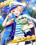 blonde_hair blue-eyes cap character_ame frog idolmaster idolmaster_side-m pierre_(idolmaster) sailor short_hair smile wink
