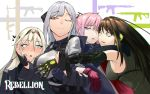 4girls ak-12 ak-12_(girls_frontline) an-94 an-94_(girls_frontline) ar-15 armband armor assault_rifle bangs bare_shoulders black_gloves blonde_hair blue_eyes blush braid breasts brown_eyes brown_hair buckle cheek-to-cheek closed_mouth coat commentary defy_(girls_frontline) elbow_gloves eyebrows_visible_through_hair french_braid gauntlets girls_frontline gloves group_hug gun hair_ornament hairband half-closed_eye hand_on_another's_arm hand_on_another's_cheek hand_on_another's_face headphones highres hug jacket large_breasts long_hair long_sleeves looking_at_another m4_carbine m4a1_(girls_frontline) medium_breasts mod3_(girls_frontline) multicolored_hair multiple_girls one_eye_closed partly_fingerless_gloves pink_hair ponytail ribbed_sweater ribbon rifle scarf sd_bigpie sidelocks silver_hair smile st_ar-15_(girls_frontline) strap streaked_hair sweat sweatdrop sweater sweater_vest tactical_clothes text_focus very_long_hair violet_eyes weapon