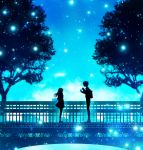 1boy 1girl backpack bag blue blue_sky bridge clouds commentary_request day from_side harada_miyuki ishida_shouya koe_no_katachi long_hair monochrome nishimiya_shouko outdoors railing silhouette skirt sky tree