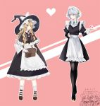 4girls apron bag bangs bat_wings black_capelet black_dress black_footwear black_hat black_legwear blonde_hair blue_eyes blush bow braid breasts brooch brown_footwear capelet chibi chibi_inset clenched_hands commentary_request dress eyebrows_visible_through_hair fang flandre_scarlet frilled_apron frills full_body fur_trim gloves green_ribbon hair_between_eyes hair_bow hair_ribbon hat hat_bow heart height_difference highres holding holding_bag holding_tray izayoi_sakuya jewelry juliet_sleeves kirisame_marisa lipstick long_hair long_sleeves maid maid_apron maid_headdress makeup medium_breasts mob_cap multiple_girls neck_ribbon open_mouth outline pantyhose parted_lips petticoat pink_background pink_lips pink_lipstick pointy_ears puffy_sleeves red_bow red_neckwear red_ribbon remilia_scarlet ribbon shoes short_hair siblings sidelocks silver_hair simple_background single_braid sisters socks souta_(karasu_no_ouchi) standing touhou translated tray twin_braids waist_apron white_apron white_bow white_gloves white_legwear white_outline wing_collar wings witch_hat yellow_eyes