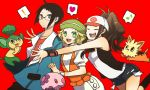 1boy 2girls :d ahoge bel_(pokemon) black_hair black_jacket blonde_hair brown_hair cheren_(pokemon) commentary_request creatures_(company) dress game_freak jacket long_hair medium_hair multiple_girls nintendo open_mouth pokemon pokemon_(game) pokemon_bw short_hair smile touko_(pokemon)