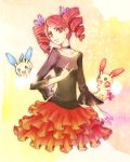 1girl :d black_choker black_shirt breasts choker creatures_(company) dress drill_hair game_freak gen_3_pokemon hair_ribbon looking_at_viewer minun nino_(sssaries) nintendo open_mouth plusle pokemon pokemon_(anime) pokemon_(creature) pose purple_ribbon red_dress redhead ribbon shirt simple_background small_breasts smile twin_drills upper_body urara_(pokemon)