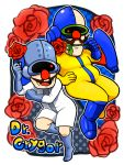 1boy 2boys artist_request bald boots charatcer_name commentary_request cyborg dr._crygor dual_persona facial_hair flower gloves highres jetpack looking_at_another male_focus mouth_hold multiple_boys mustache open_mouth rose skin_tight smile warioware