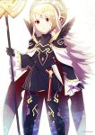 1girl armor black_armor black_gloves cape crml_orng crown fire_emblem fire_emblem_heroes gloves grey_hair hair_ornament highres holding holding_staff long_hair long_sleeves parted_lips red_eyes shoulder_armor simple_background solo staff standing twitter_username veronica_(fire_emblem) white_background