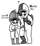 1boy 2boys artist_request bald boots commentary_request cyborg dr._crygor dual_persona facial_hair gloves hand_on_own_chin height_difference jetpack looking_at_another male_focus monochrome multiple_boys mustache simple_background skin_tight sweatdrop translation_request warioware white_background