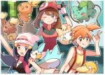 3girls :o beanie bird breasts brown_hair bulbasaur closed_mouth creature creatures_(company) fangs game_freak gen_1_pokemon gen_2_pokemon gen_3_pokemon gen_4_pokemon glitch gloves green_eyes happy haruka_(pokemon) hat hikari_(pokemon) kasumi_(pokemon) looking_at_viewer midriff multiple_girls navel nintendo one_eye_closed orange_hair pachirisu pink_eyes piplup pokemon pokemon_(anime) pokemon_(classic_anime) pokemon_(creature) pokemon_(game) pokemon_dppt pokemon_on_shoulder pokemon_rse psyduck red_shirt ririmon scarf shirt small_breasts togepi tongue tongue_out torchic yellow_shirt