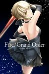 1girl arm_up artoria_pendragon_(all) back backless_outfit bare_back bare_shoulders black_background black_choker black_gloves black_legwear black_ribbon black_skirt blonde_hair blue_background braid breasts character_name choker copyright_name crown_braid dark_excalibur dress earrings elbow_gloves eyebrows_visible_through_hair fate/grand_order fate_(series) female gloves gradient gradient_background hair_ribbon heart heart_earrings highres holding holding_sword holding_weapon jewelry light_particles looking_at_viewer looking_back miniskirt parted_lips ribbon rukinya_(nyanko_mogumogu) saber_alter short_hair sideboob sidelocks skirt small_breasts smile solo standing strapless strapless_dress sword thigh-highs type-moon weapon yellow_eyes