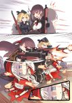 3girls blood brown_hair bullpup empty_eyes firing g43_(girls_frontline) girls_frontline gun highres human_shield long_hair mp5_(girls_frontline) multiple_girls multiple_persona phandit_thirathon rifle scope sniper_rifle wa2000_(girls_frontline) walther walther_wa_2000 weapon white_hair