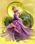 1girl armpits bare_shoulders blonde_hair bracer breasts diadem dress elementalist_lux grey_eyes highres league_of_legends light_elementalist_lux luxanna_crownguard medium_breasts miniskirt raivis_draka signature skirt tagme traditional_media wand white_dress white_footwear