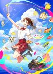 1girl :d akagi_shun bag blue_sky bow bowtie brown_eyes brown_footwear brown_hair clouds cloudy_sky clownfish commentary_request fish flying_fish hair_ornament hair_ribbon hairclip holding jumping lens_flare loafers looking_at_viewer open_mouth original outdoors paintbrush palette purple_legwear red_neckwear red_skirt ribbon shirt shoes skirt sky smile socks solo tropical_fish white_shirt yellow_ribbon