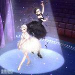 2girls ballerina ballet bird black_hair black_swan brown_eyes brown_hair dress highres light_brown_eyes makeup miracle_nikki multiple_girls stage swan swan_lake tutu white_swan