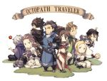 4boys 4girls alfyn_(octopath_traveler) animal blonde_hair blush bracelet braid brown_hair cape chibi collarbone cyrus_(octopath_traveler) dancer dress everyone gloves green_eyes h'aanit_(octopath_traveler) hair_over_one_eye hat jewelry long_hair multiple_boys multiple_girls necklace octopath_traveler olberic_eisenberg open_mouth ophilia_(octopath_traveler) ponytail primrose_azelhart scarf short_hair simple_background smile snow_leopard staff tekutonbo therion_(octopath_traveler) tressa_(octopath_traveler) weapon white_hair