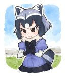 1girl animal_ears blue_hair blush bow bowtie brown_eyes common_raccoon_(kemono_friends) elbow_gloves eyebrows_visible_through_hair gloves grey_hair hakka720_2 hands_on_own_chest hands_together kemono_friends multicolored_hair pleated_skirt puffy_sleeves raccoon_ears raccoon_tail short_hair skirt solo tail white_hair
