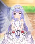 1girl :o absurdres azur_lane bangs bare_shoulders blue_flower blue_rose blurry blurry_background blush bow bridal_veil chestnut_mouth commentary_request day depth_of_field dress eyebrows_visible_through_hair flower frilled_bow frills hair_flower hair_ornament highres huge_filesize lisu looking_at_viewer object_hug outdoors parted_lips purple_hair red_flower red_rose rose see-through sleeveless sleeveless_dress solo stairs standing stone_stairs stuffed_animal stuffed_pegasus stuffed_toy stuffed_unicorn unicorn_(azur_lane) veil violet_eyes white_dress yellow_bow