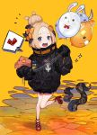 1girl abigail_williams_(fate/grand_order) balloon bangs black_bow black_jacket blonde_hair blue_eyes blush bow commentary_request fate/grand_order fate_(series) fou_(fate/grand_order) hair_bow hair_bun heart heroic_spirit_traveling_outfit highres holding holding_balloon jacket key long_hair long_sleeves medjed object_hug open_mouth orange_background orange_bow parted_bangs polka_dot polka_dot_bow round_teeth sleeves_past_fingers sleeves_past_wrists solo sparkle spoken_heart standing standing_on_one_leg star stuffed_animal stuffed_toy suction_cups teddy_bear teeth tentacle upper_teeth yuu_(higashi_no_penguin)