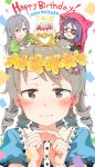 2018 3girls :d animal_hood bangs belt_buckle birthday_cake black_belt black_shirt blue_shirt blush bow braid brown_eyes brown_hair buckle cake candle chains character_name closed_mouth commentary_request crescent_moon eyebrows_visible_through_hair eyepatch fang fingernails fingers_together flower food gomennasai green_shirt hair_between_eyes hair_bow hair_flower hair_ornament hands_up happy_birthday hayasaka_mirei heart highres hood hood_up hoshi_shouko idolmaster idolmaster_cinderella_girls individuals jacket long_hair long_sleeves looking_at_viewer minigirl moon morikubo_nono multiple_girls on_head open_mouth pink_bow puffy_sleeves purple_hair red_jacket ringlets shirt short_over_long_sleeves short_sleeves side_braid silver_hair single_braid smile wide_sleeves yellow_flower