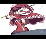 1girl action artist_name bangs black_bow black_legwear blurry blurry_foreground boots bow commentary depth_of_field detached_sleeves dress dust_particles foreshortening frilled_dress frills hair_bow holding holding_weapon letterboxed light_frown long_hair magical_girl mahou_shoujo_madoka_magica one_knee oono_tsutomu open_mouth polearm ponytail red_dress red_eyes red_footwear redhead sakura_kyouko signature sleeveless sleeveless_dress solo spear standing thigh-highs weapon