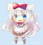 1girl :d american_flag american_flag_print animal_ears apron azur_lane black_dress black_legwear blue_background blue_eyes blush bow cat_ears cat_girl cat_tail chibi dress fang flag_print full_body hair_bow hammann_(azur_lane) hands_on_hips kouu_hiyoyo long_hair looking_at_viewer no_shoes open_mouth print_neckwear puffy_short_sleeves puffy_sleeves red_bow short_sleeves silver_hair smile solo standing tail tail_raised thigh-highs twitter_username very_long_hair waist_apron white_apron wrist_cuffs