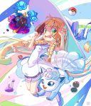 1girl absurdres alolan_vulpix azoura blonde_hair blush cosmog creatures_(company) dress game_freak gen_1_pokemon gen_7_pokemon green_eyes hat highres lillie_(pokemon) nintendo poke_ball pokemon pokemon_(anime) pokemon_sm_(anime) potion_(pokemon) sun_hat vulpix white_dress white_hat