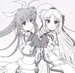 2girls :o ahoge armor bangs blush bow closed_mouth commentary crop_top dress eyebrows_visible_through_hair fingerless_gloves foreshortening from_side fuuka_reventon gloves greyscale hair_bow hair_ornament hair_ribbon hairclip jacket long_hair long_sleeves looking_at_viewer lyrical_nanoha magical_girl monochrome multiple_girls overskirt parted_lips petag2 petals ponytail pose ribbon rinne_berlinetta shirt short_sleeves smile standing symmetrical_hand_pose symmetry upper_body vivid_strike!