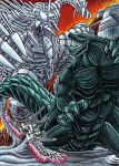 absurdres battle character_request claws commentary furuta_yoroshi giant glowing glowing_eyes godzilla godzilla:_city_on_the_edge_of_battle godzilla:_planet_of_the_monsters godzilla_(series) godzilla_earth highres kaijuu mecha mechagodzilla mechagodzilla_(godzilla:_city_on_the_edge_of_battle) monster no_humans robot science_fiction size_difference super_robot tail traditional_media weapon