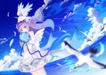 1girl ahoge animal azur_lane bangs bare_shoulders bird blue_flower blue_ribbon blue_rose blue_sky blurry blurry_foreground blush bouquet clouds commentary_request covered_mouth day depth_of_field detached_sleeves dress dutch_angle eyebrows_visible_through_hair feathered_wings feathers flower holding holding_bouquet horizon long_hair long_sleeves looking_at_viewer ocean on_head one_side_up outdoors pleated_dress purple_hair ribbon rose seagull sky solo standing stuffed_animal stuffed_pegasus stuffed_toy stuffed_unicorn thigh-highs unicorn_(azur_lane) very_long_hair violet_eyes water white_dress white_feathers white_flower white_legwear white_rose white_wings wings yuujin_(mhhnp306)