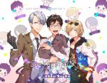 2019 3boys ^_^ bespectacled black_gloves black_hair blonde_hair blue-framed_eyewear blue_eyes character_name chibi closed_eyes closed_eyes coat confetti dog dolce_(2455485736) english eyewear_on_head formal glasses gloves green_eyes hair_over_one_eye hand_in_pocket hand_on_another's_shoulder heart heart-shaped_eyewear highres hood hoodie ice_skates katsuki_yuuri male_focus multiple_boys necktie open_mouth silver_hair skates smile suit sunglasses vicchan viktor_nikiforov yuri!!!_on_ice yuri!!!_on_ice_the_movie:_ice_adolescence yuri_plisetsky