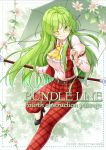 1girl ;) aka_tawashi ascot bangs belt black_footwear blurry blush breasts commentary_request cover english eyebrows_visible_through_hair eyes_visible_through_hair feet_out_of_frame flower green_eyes green_hair hair_between_eyes high-waist_pants high_heels highres holding holding_umbrella juliet_sleeves kazami_yuuka kazami_yuuka_(pc-98) large_breasts leg_up long_hair long_sleeves looking_at_viewer one_eye_closed outline pants plaid plaid_pants plaid_vest pocket puffy_sleeves red_pants red_vest shirt sidelocks sleeve_garters smile solo thighs touhou touhou_(pc-98) umbrella very_long_hair vest white_flower white_outline white_shirt wing_collar yellow_neckwear
