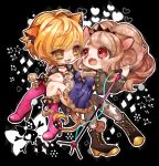 2girls animal_ears big_hair black_background black_choker black_jacket blonde_hair blush boots brown_hair carrying chibi chino_machiko choker copyright_request dress eye_contact fangs grey_legwear high_heel_boots high_heels holding holding_microphone jacket jewelry lion_ears lion_tail looking_at_another microphone microphone_stand multiple_girls necklace outline pantyhose pigeon-toed pink_footwear ponytail princess_carry purple_dress red_eyes short_sleeves slit_pupils smile tail white_outline yellow_eyes yuri