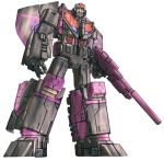 astrotrain beam_rifle commentary damaged decepticon deviantartblitz-wing dirty energy_cannon energy_gun english_commentary insignia looking_at_viewer mecha original redesign robot roundel science_fiction simple_background solo transformers weapon