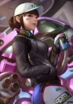 1girl alternate_hairstyle ass blue_bodysuit bodysuit breasts brown_eyes brown_hair can clothes_writing commentary d.va_(overwatch) dirty_face ejikure gloves hair_bun hand_in_pocket hat headphones headphones_around_neck highres jacket mecha medium_breasts overwatch parted_lips shooting_star_d.va signature soda_can solo