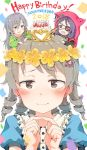 2018 3girls :d animal_hood bangs belt_buckle birthday_cake black_belt black_shirt blue_shirt blush bow braid brown_eyes brown_hair buckle cake candle chains character_name closed_mouth commentary_request crescent_moon eyebrows_visible_through_hair eyepatch fang fingernails fingers_together flower food gomennasai green_shirt hair_between_eyes hair_bow hair_flower hair_ornament hands_up happy_birthday hayasaka_mirei heart hood hood_up hoshi_shouko idolmaster idolmaster_cinderella_girls individuals jacket long_hair long_sleeves looking_at_viewer minigirl moon morikubo_nono multiple_girls on_head open_mouth pink_bow puffy_sleeves purple_hair red_jacket ringlets shirt short_over_long_sleeves short_sleeves side_braid silver_hair single_braid smile wide_sleeves yellow_flower
