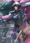 2girls animal_print arm_at_side bangs black_hair black_jacket blue_bodysuit bodysuit bunny_print closed_mouth d.va_(overwatch) dirty_face gloves hat headphones headphones_around_neck highres holding holding_weapon holding_wrench jacket long_sleeves looking_at_viewer meka_(overwatch) multiple_girls overwatch partially_unzipped raikoart red_lips shaded_face signature smile solo_focus standing watermark weapon white_gloves white_hat