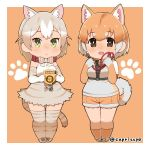 2girls :< :d animal_ears bow bowtie brown_eyes capriccyo cat_(kemono_friends) cat_ears cat_tail chibi closed_eyes collar commentary_request dog_(kemono_friends) dog_ears extra_ears fur-trimmed_shorts green_eyes grey_hair kemono_friends leash looking_at_viewer multicolored_hair multiple_girls open_mouth orange_background orange_hair paw_print short_hair shorts simple_background smile tail thigh-highs twitter_username two-tone_hair white_hair